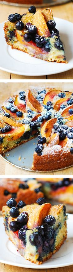 Delicious, light and fluffy Peach Blueberry Greek Yogurt Cake made in a springform baking pan. Greek yogurt gives cake a richer texture!