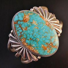 Native Navajo Bracelet LRG Kingman Turquoise Sterling Silver Womens Cuff s6.25