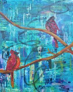 """Winter Cardinals II"" by Rebecca Rousseau"