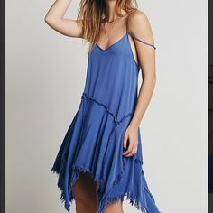 Free People Tattered Up Shred Slip Bay Blue NWOT Free People Tattered Up Shred Slip Bay Blue NWOT size xs. Never worn. Tag is cut to prevent store return. Sold out!! Free People Dresses Mini
