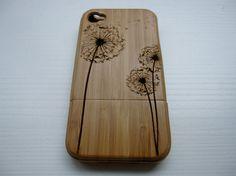 Dandelion - Bamboo Iphone case 4S laser engraved