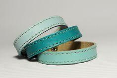 Set Of Three Shades Of  Turquoise  Leather Bracelets. $13.80, via Etsy.