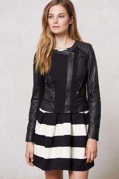 Elevenses Black Leather Collarless Mixed Moto Jacket Size 8