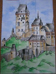 plakát (88x63cm) k vytvoření skládacích obrázkových kostek, příprava na oslavy výročí narození Karla IV. ve škole