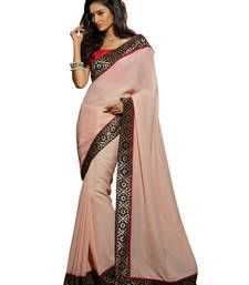 Buy Peach embroidered jacquard saree with blouse organza-saree online