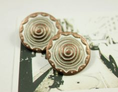Spiral Metal Buttons , Copper White Patina Color , Domed Center , Shank , 0.91 inch , 8 pcs on Etsy, $6.00
