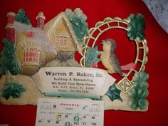 "Great Vintage ""WARREN P.BAKER,Sr."" CHRISTMAS Calendar Cut out & Embossed 1980 