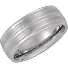 Cobalt 8mm Satin & Ridged Band Size 11