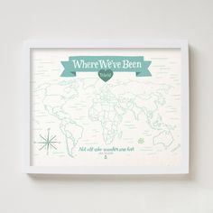 Where We've Been World Map ($40): I've been everywhere, man, I've been everywhere… This map is a blank slate and a great motivator for planning trips to faraway lands.