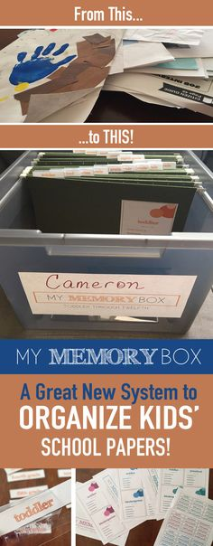 Tired of school papers all over the place? Organize your kids school papers from their toddler years through twelfth grade with this easy system! It's a simple way to make a school memory box. What a great memory keepsake to pass on to your kids! Grand Menage, School Memories, Room Organization, Kids School Organization, Getting Organized, Just In Case, Activities For Kids, Kids Room, Parenting