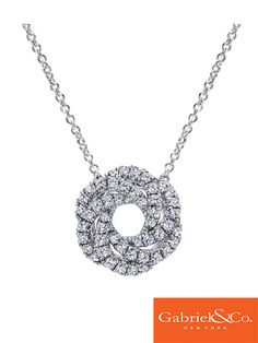 14k White Gold Diamond Necklace by Gabriel & Co.