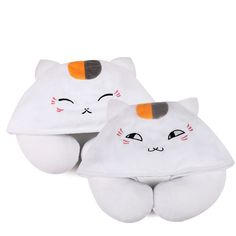 1pcs Cartoon Animals U Shaped Neck Pillow with Hat Nyanko Sensei Portable Travel Hooded Pillow Support Head Rest Neck Cushion