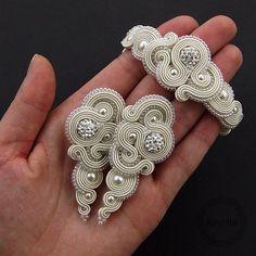 "154 Likes, 6 Comments - Artistic Jewelery  (@kavrila) on Instagram: ""Set wedding ""rosaline light ivory soutache""  #soutache #sutasz #komplet #na #ślub #kryształy…"""