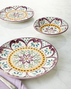 Talavera Dinnerware at Horchow. Rare to find a plate design that incorporates ALL my glass ware collections colors: teal, gold, amethyst... I must resist, I must resist!