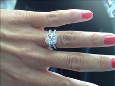 30th Anniversary Ring ?- Love, love, love! :  wedding cushion halo ring silver split shank white 20th Anniversary Ring 1
