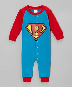 Another great find on #zulily! Blue & Red Super Baby Playsuit - Infant by Hollywood Mirror #zulilyfinds