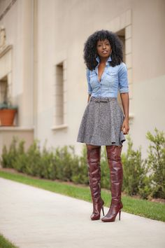 Fitted Denim Shirt + Twill Skater Skirt + OTK Boots