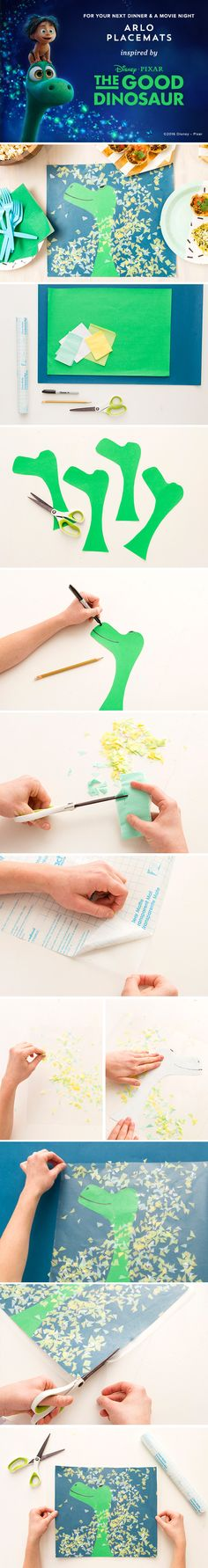 Create Arlo the Dinosaur Placemats Draw+cut Arlo's head. Dinosaur Party, Dinosaur Birthday, Movie Night Party, Kids Up, The Good Dinosaur, Paper Crafts For Kids, Camping Crafts, Disney Crafts, Activity Games