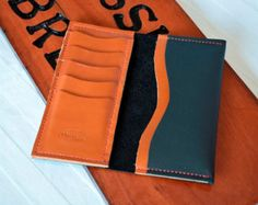 Handcrafted Leather Phone wallet Handstitched in by LilOkieLeather