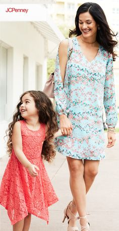 Spring means outdoor parties and graduations, and a cold-shoulder dress is the perfect outfit. Floral prints and solid styles are easy to accessorize with metallic jewelry and strappy heels. A coordinating clutch or bag completes the look. Match your dress with your daughters for a mom and daughter outfit you can't resist.