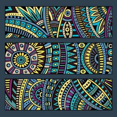 Illustration of Abstract decorative vector ethnic pattern cards set vector art, clipart and stock vectors. Mandala Art, Mandala Design, Kunstjournal Inspiration, Posca Art, Ethnic Patterns, African Patterns, Card Patterns, Aboriginal Art, Dot Painting