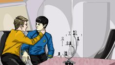 yomawari: For supersonicthehedgehunter's prompt: mccoy accidentally walking in on kirk and spock?? xD I hope you like it! I'm sorry if it's a lot tamer than what you wanted. I'll see if I can make up for it with the other prompts. I just really wanted to try improving my gif skills and for some reason this prompt inspired my muse - even though finishing all 15 frames it drove me crazy.