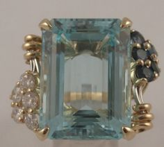 AMAZING 34ct Aquamarine 1ct Diamond 1.45ct Sapphire 14k Gold Cocktail Ring