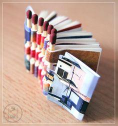 Büchlein aus übriggebliebenen Streichhölzern und Papierresten / Mini piano hinge book made of leftover matches and paper scraps