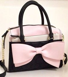 Betsey Johnson Blush Pink Bow Satchel With Pouch Crossbody Handbag Quilted Heart #BetseyJohnson #Satchel