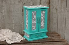 Jewelry Box, Music Box, Jewelry Armoire, Shabby Chic, Tiffany Blue, Aqua, Grey, Hand Painted, Decoupage, Distressed by TheVintageArtistry on Etsy https://www.etsy.com/listing/212723830/jewelry-box-music-box-jewelry-armoire