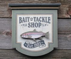 Bait and Tackle Wood  Sign Fishing Sporting Goods antique looking vintage looking. $83.00, via Etsy.