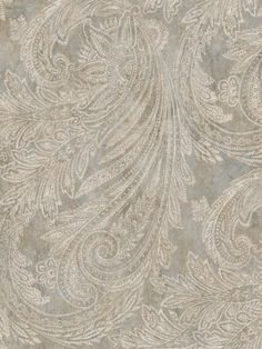 Sapphire Oasis Slate, Grayish White and Gold Paisley Wallpaper Gold Paisley Wallpaper, Gold Luxury Wallpaper, Eclectic Wallpaper, Wallpaper Stores, Magnolia Homes, Paisley Pattern, Designer Wallpaper, Damask, Oasis
