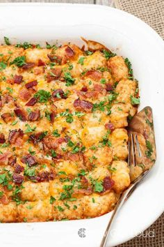 Swap out hash browns for tater tots and top with crumbled bacon for all kinds of irresistible cheesiness. Get the recipe at Chew Out Loud.