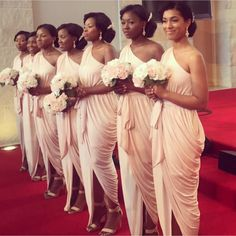 Bridesmaid Dresses 2018 Ruched Beach Wedding Party Guest Dresses Nude One Shoulder Front Split Junior Maid of Honor Dress Ankle-length Vintage Style Bridesmaid Dresses, Summer Bridesmaid Dresses, Brides And Bridesmaids, Wedding Party Dresses, Wedding Attire, Grecian Bridesmaid Dress, Bridesmaid Hair, Maid Of Honour Dresses, Maid Of Honor