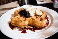 """Texas Pecan Waffle - """"Fresh Pecans, Bananas, Powdered Sugar, Blackberry Jam & Maple Syrup on side"""" 