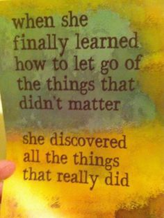 letting go ..