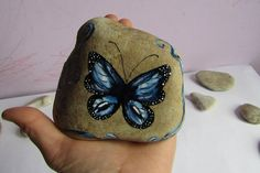 Large painted stone Blue Butterfly elegant by TheLuckyStones