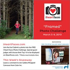 Get ready for the I Heart Faces March Photo Challenge with a Gallery Wraped Canvas Giveaway!  iHeartFaces.com