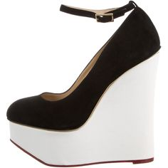 Charlotte Olympia Platform Wedges ($245) ❤ liked on Polyvore featuring shoes, wedges, white, wedges shoes, ankle strap sandals, suede platform sandals, black wedge sandals and black suede sandals