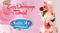 Easy Decoupage Tutorial Decoupage Tutorial, Cake Tutorial, Cake Decorating Tips, Cookie Decorating, Ice Roll, American Cake, Rolling Fondant, Pastry Art, Wafer Paper