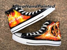 Catching Fire Custom Converse Custom Shoes Hand by CoraHandPainted, $77.99 I NEED THESE