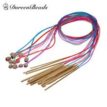 12-size 3mm-10mm Knit Weave Yarn Craft Knitting Needle Bamboo Handle Crochet Hooks Sewing Needles Firm In Structure Embroidery