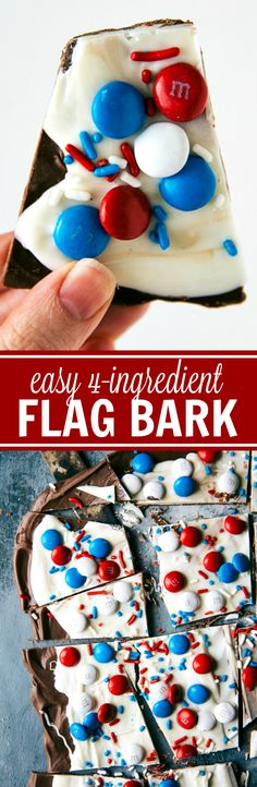 FOUR INGREDIENT Patriotic Fourth of July or Memorial Day Treat! Flag bark made with only 4 easy ingredients. This bark is no bake, quick to assemble, and kid friendly! Recipe is from chelseasmessyapro (Easy Ingredients Dinner) 4th Of July Desserts, Fourth Of July Food, 4th Of July Party, July 4th, Patriotic Desserts, Memorial Day Desserts, Summer Desserts, Yummy Treats, Sweet Treats