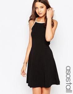 ASOS+TALL+90's+High+Neck+Skater+Dress+With+Contrast+Trim
