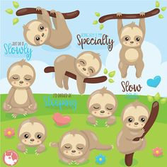 80% OFF SALE Sloth clipart commercial use easter bunny vector