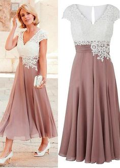 d6ef9324ab  105.99  Wonderful Tulle   Chiffon V-neck Neckline Tea-length A-line Mother  Of The Bride Dress With Lace Appliques