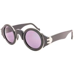 beeefd380d49 Karl Lagerfeld Vintage Round Black and Silver Sunglasses Made In Germany
