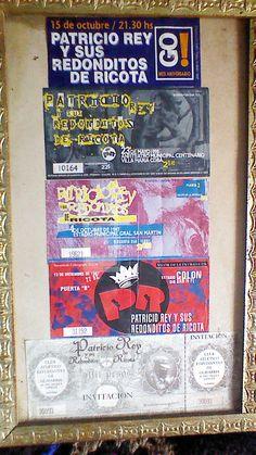 Algunas entradas de recitales de Patricio Rey y sus Recónditos de Ricota, la de abajo es una invitación que me dio Skay para el show que les prohibieron en Olavarría.