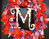 Personalized Clemson Fabric Wreath a MUST! Football season soon!
