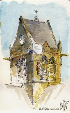 Urban Sketchers: The Normandy of PFC Elzie L. North.